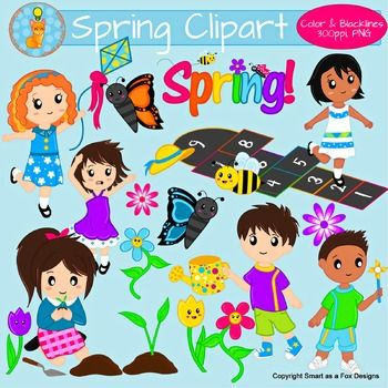 Spring children. Activities clipart cute