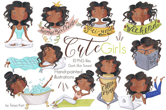 Girls dark skin tone. Activities clipart cute