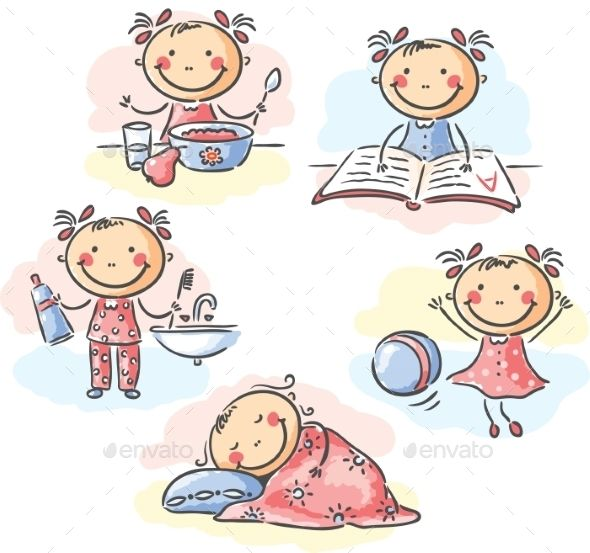 Activities clipart daily routine. Girl s iza cartoon