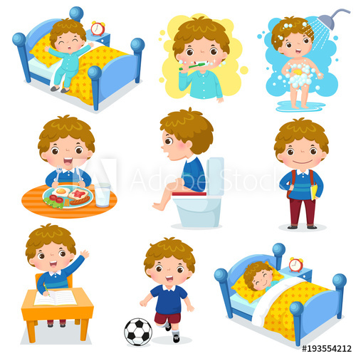 Activities clipart daily routine. For kids with cute