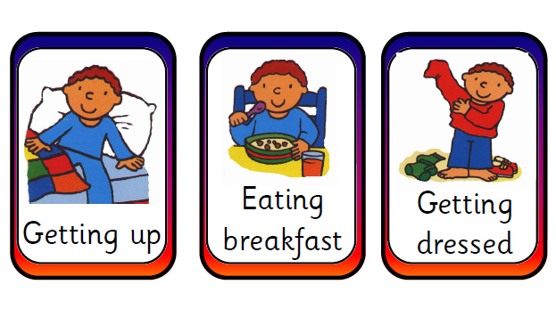 Activities clipart daily routine. Routines and english portfolio