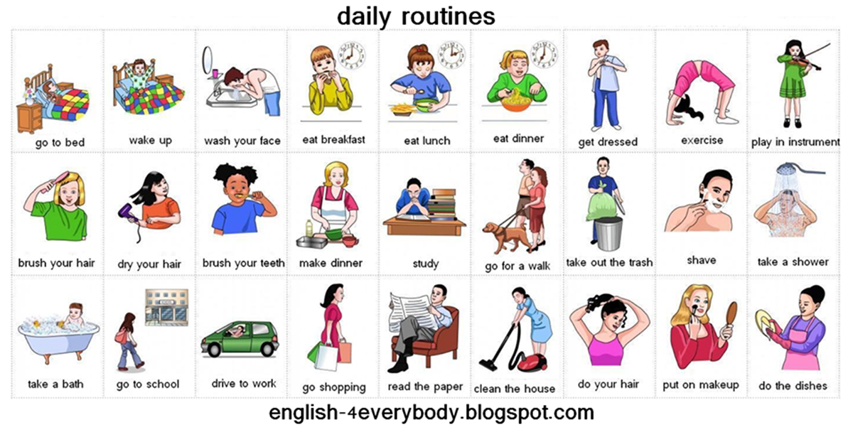 Forum verbs pictionary fluent. Activities clipart daily routine