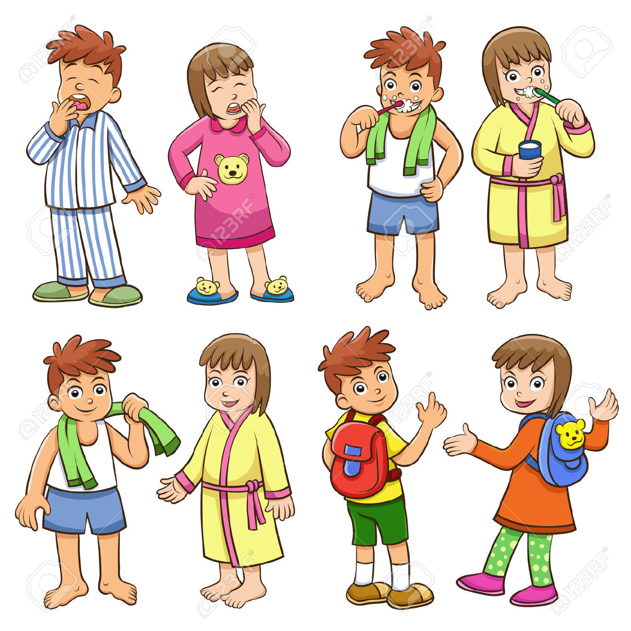 Activities clipart daily routine. Schedule cartoon
