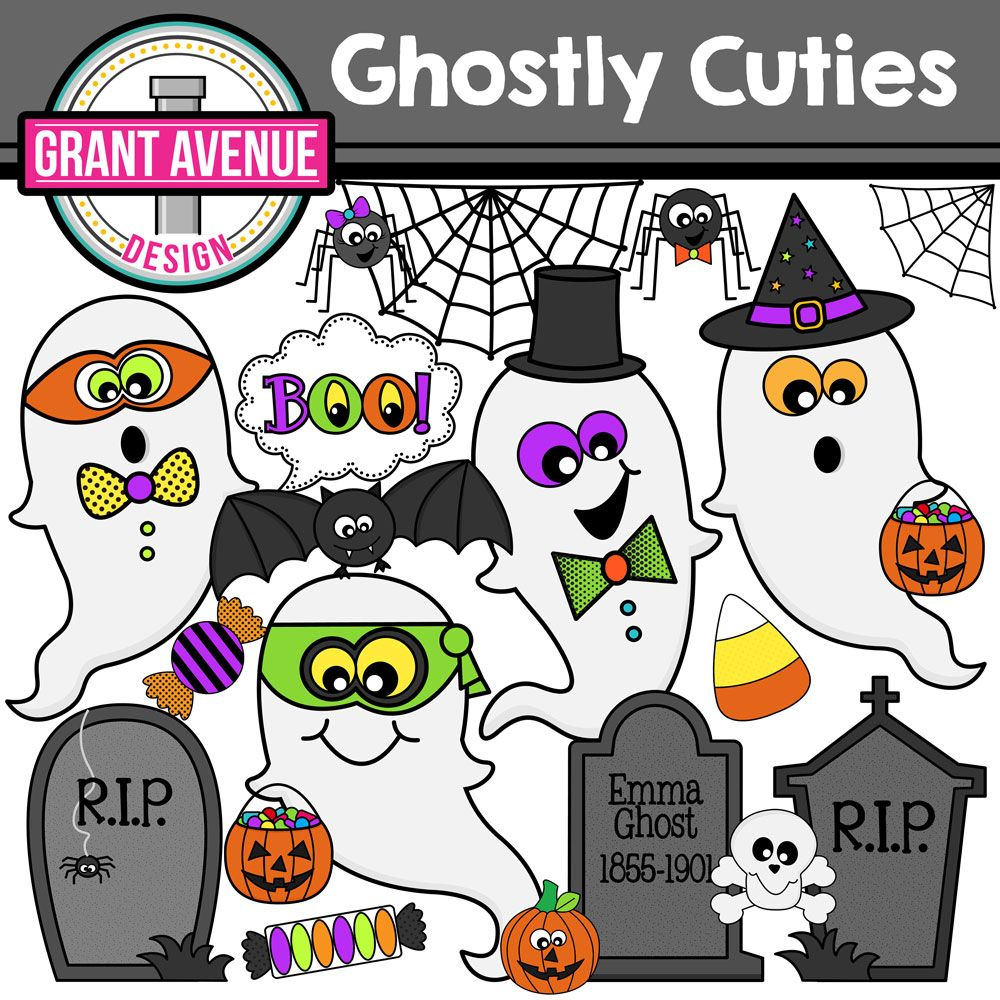 Ghost cuties and crafts. Activities clipart halloween