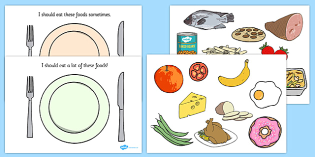 Eating sorting activity game. Activities clipart healthy lifestyle