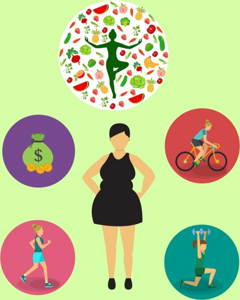 Concept various isolation woman. Activities clipart healthy lifestyle
