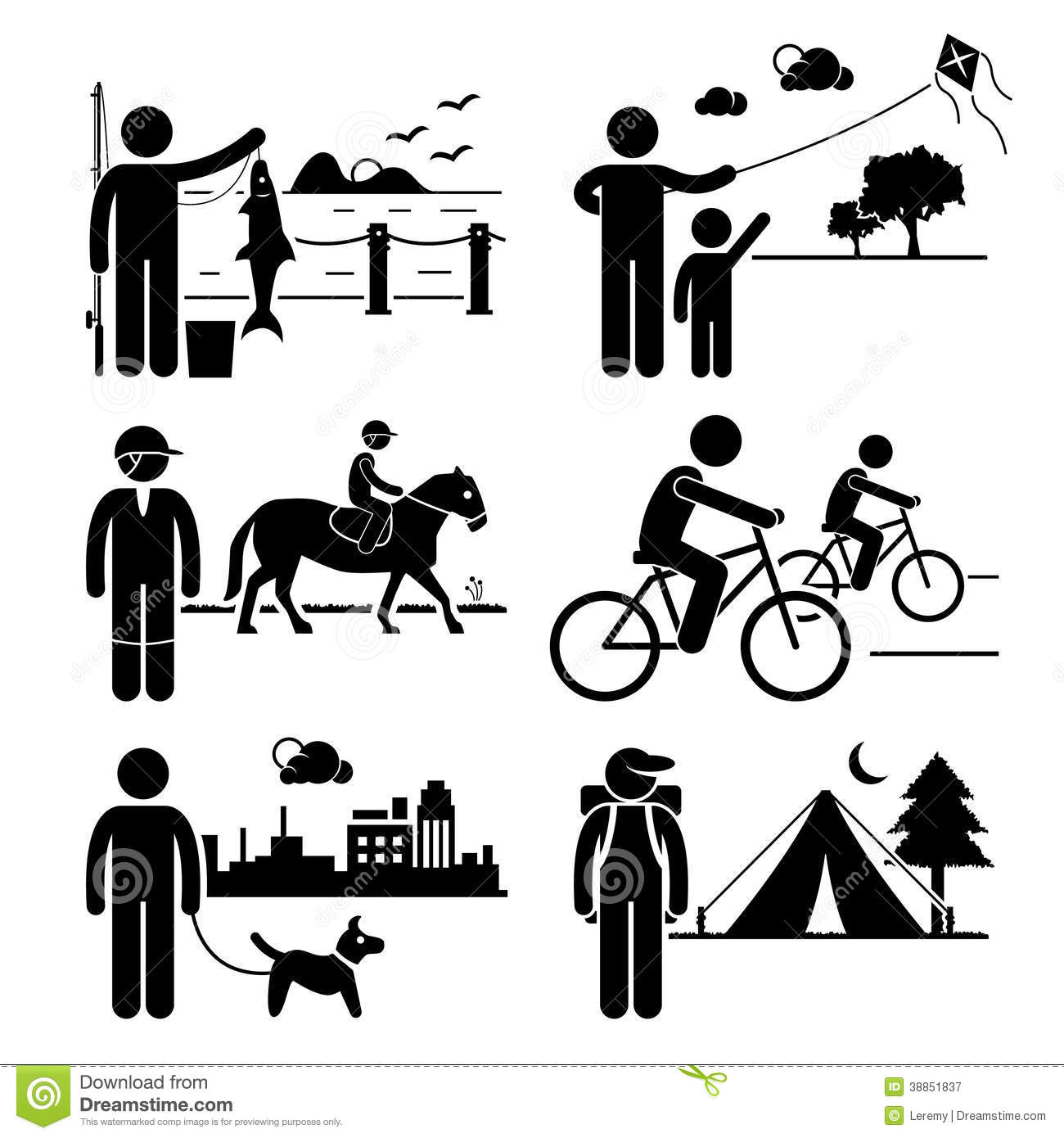 Pencil and in color. Activities clipart human activity
