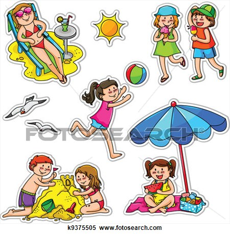 Summer . Activities clipart illustration