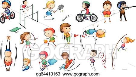 Activities clipart illustration. Eps vector different sports