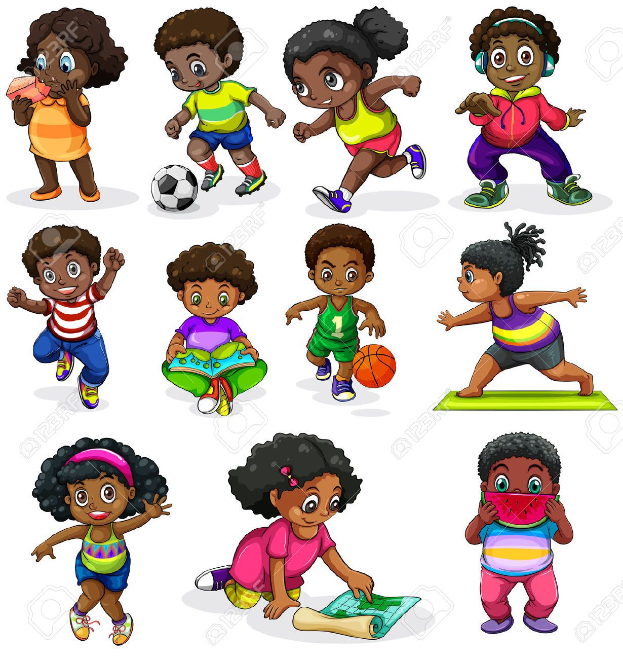 Of the black kids. Activities clipart illustration