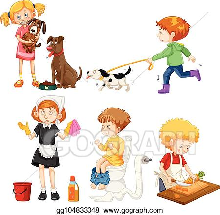 Vector stock a set. Activities clipart illustration