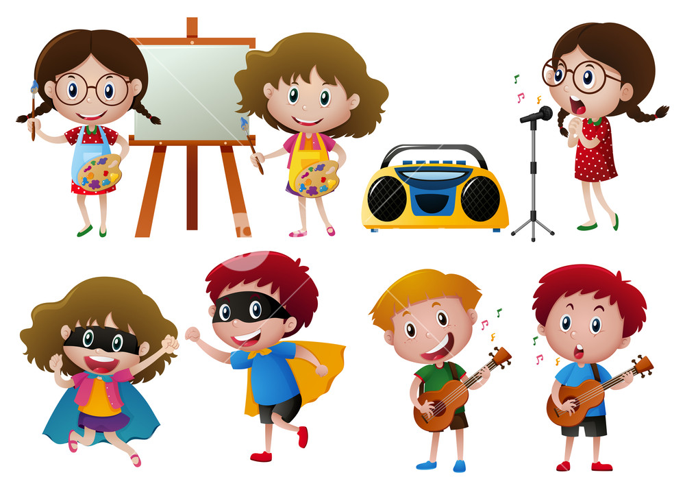 Activities clipart illustration. Kids doing different royalty