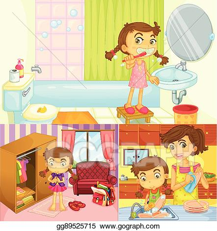 Activities clipart illustration. Eps girl doing different