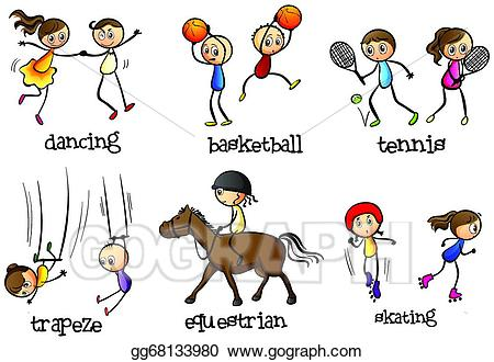 Activities clipart illustration. Vector indoor and outdoor