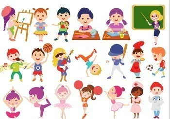 Students and kids at. Activities clipart in school