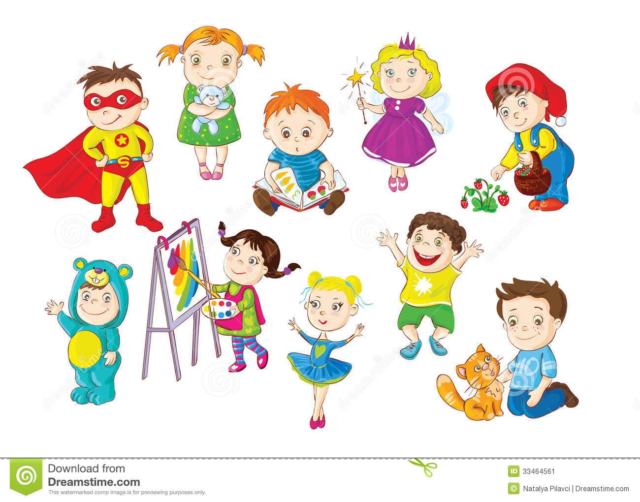 collection of kids. Activities clipart indoor activity