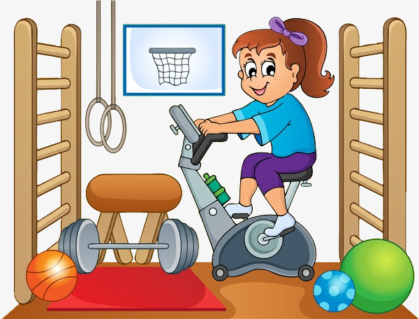 Cartoon Gym Bike, Activity Room, Activity, Indoor Activities PNG ...