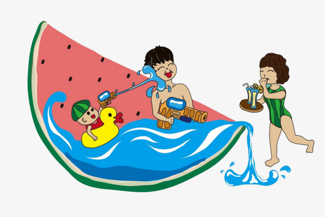 Summer watermelon play vacation. Activities clipart leisure