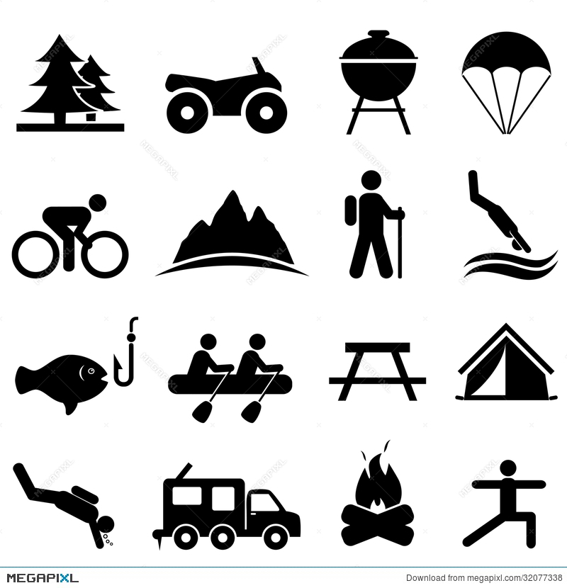 And recreation icons illustration. Activities clipart leisure