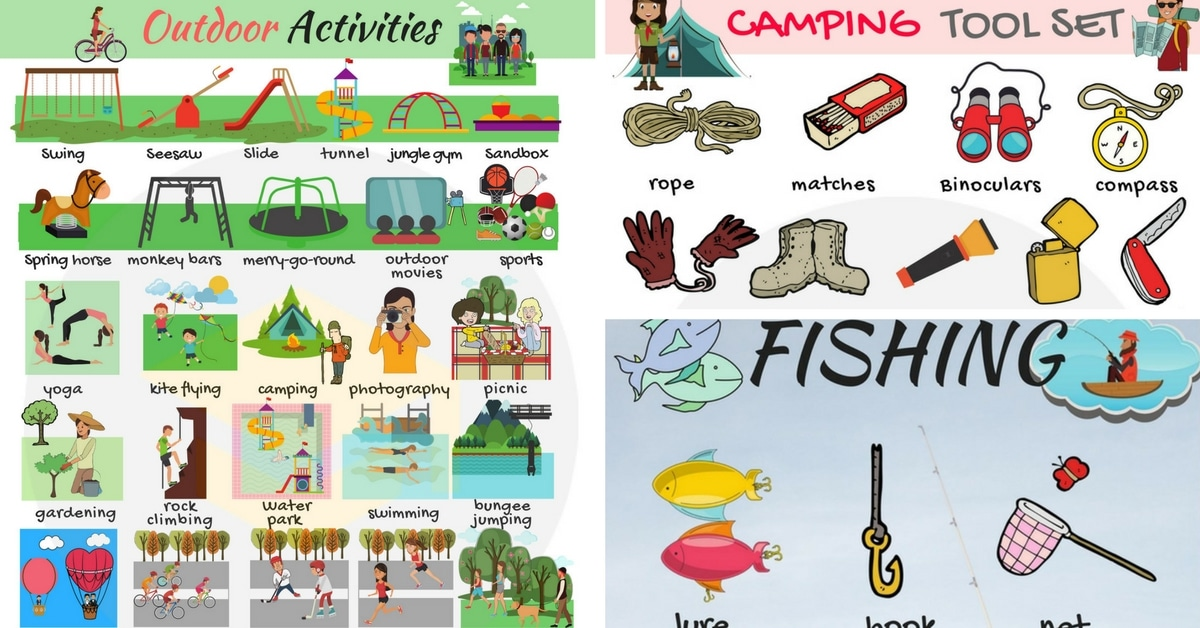 Activities clipart outdoor activity. Games and vocabulary in