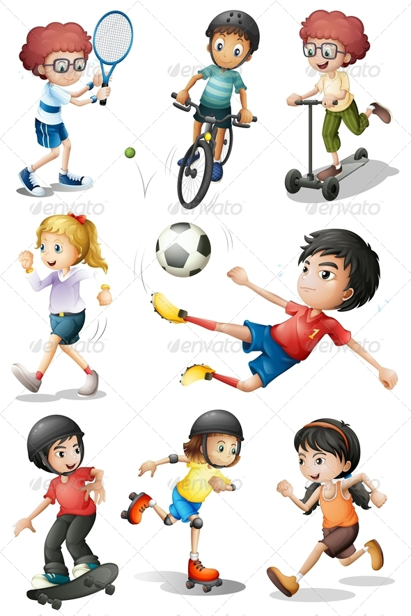 Set of kids in. Activities clipart outdoor activity