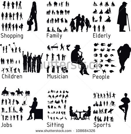 All people activity silhouettes. Activities clipart silhouette
