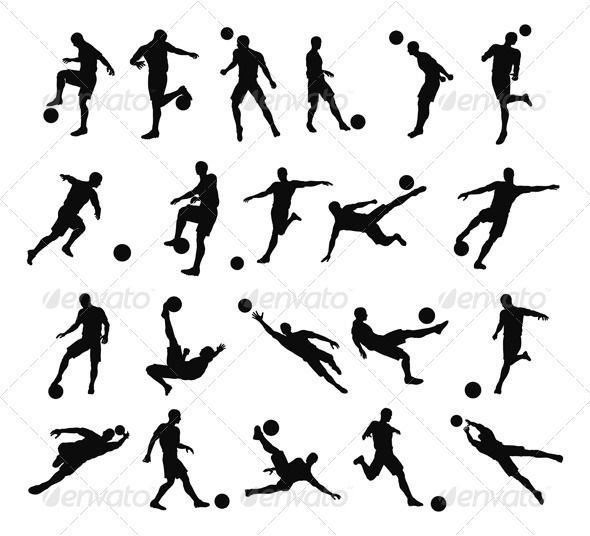 Activities clipart silhouette. Soccer football player silhouettes