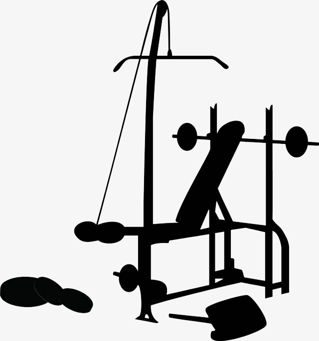 Activities clipart silhouette. Fitness equipment hand painted