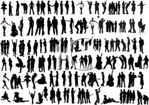 A of large group. Activities clipart silhouette
