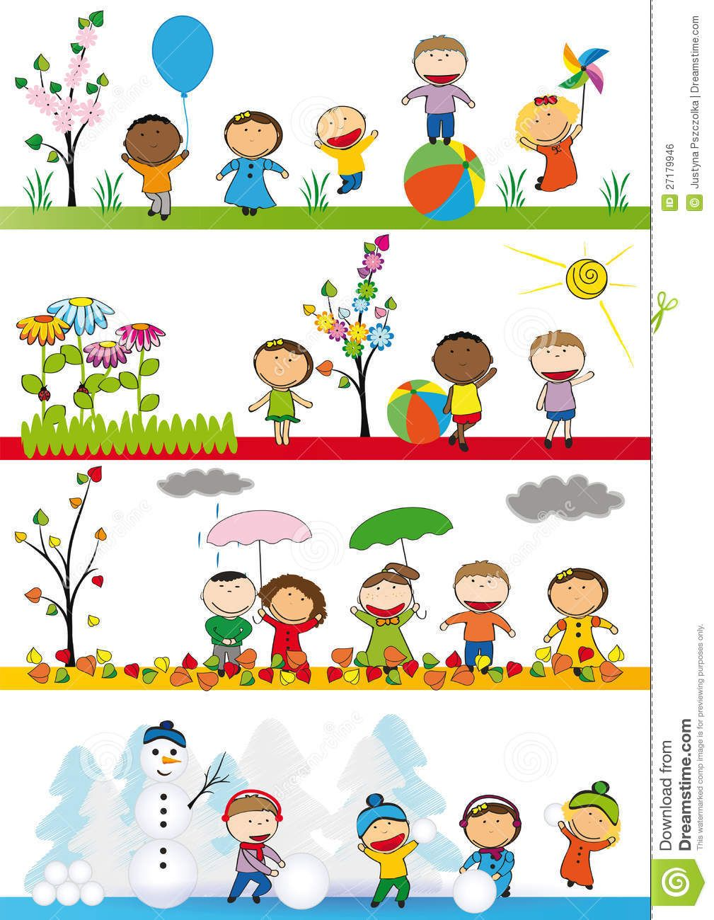 Activities clipart spring season. Kids in four download