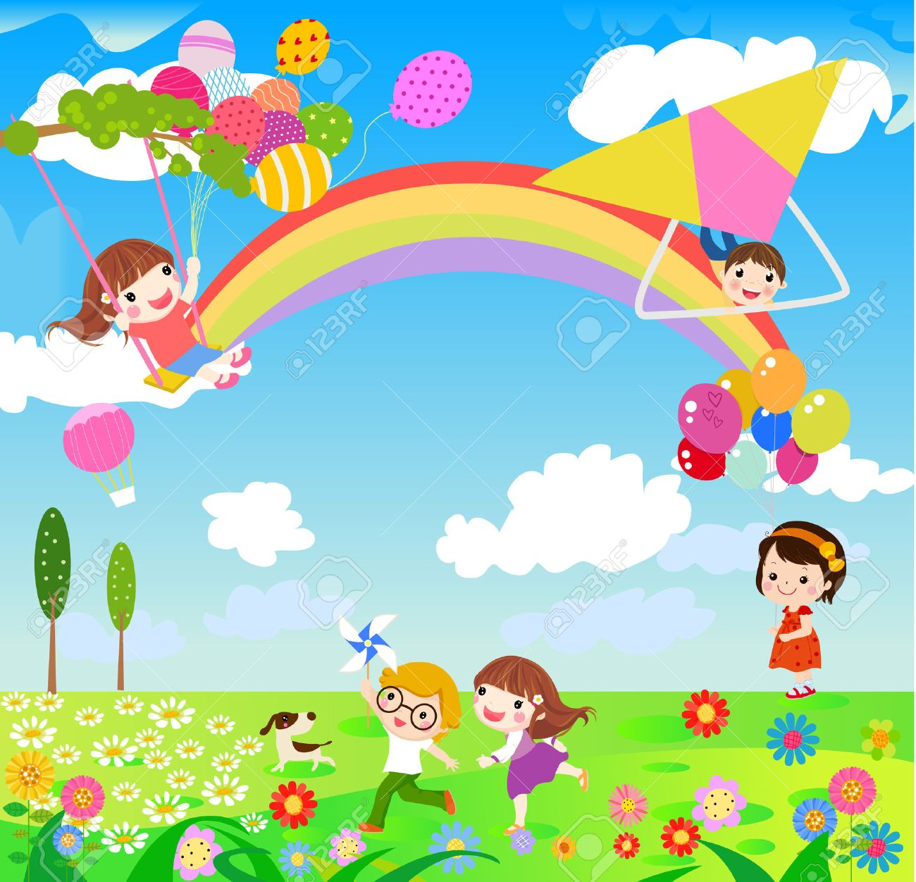 Authentic pictures for kids. Activities clipart spring season