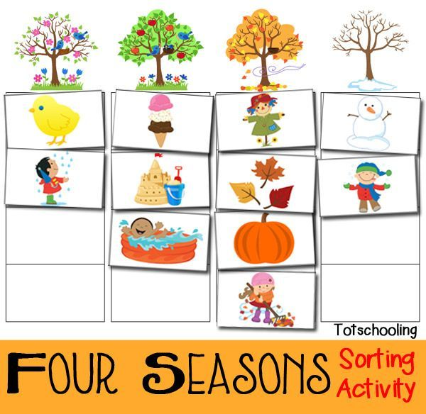 Activities clipart spring season. Four seasons sorting activity