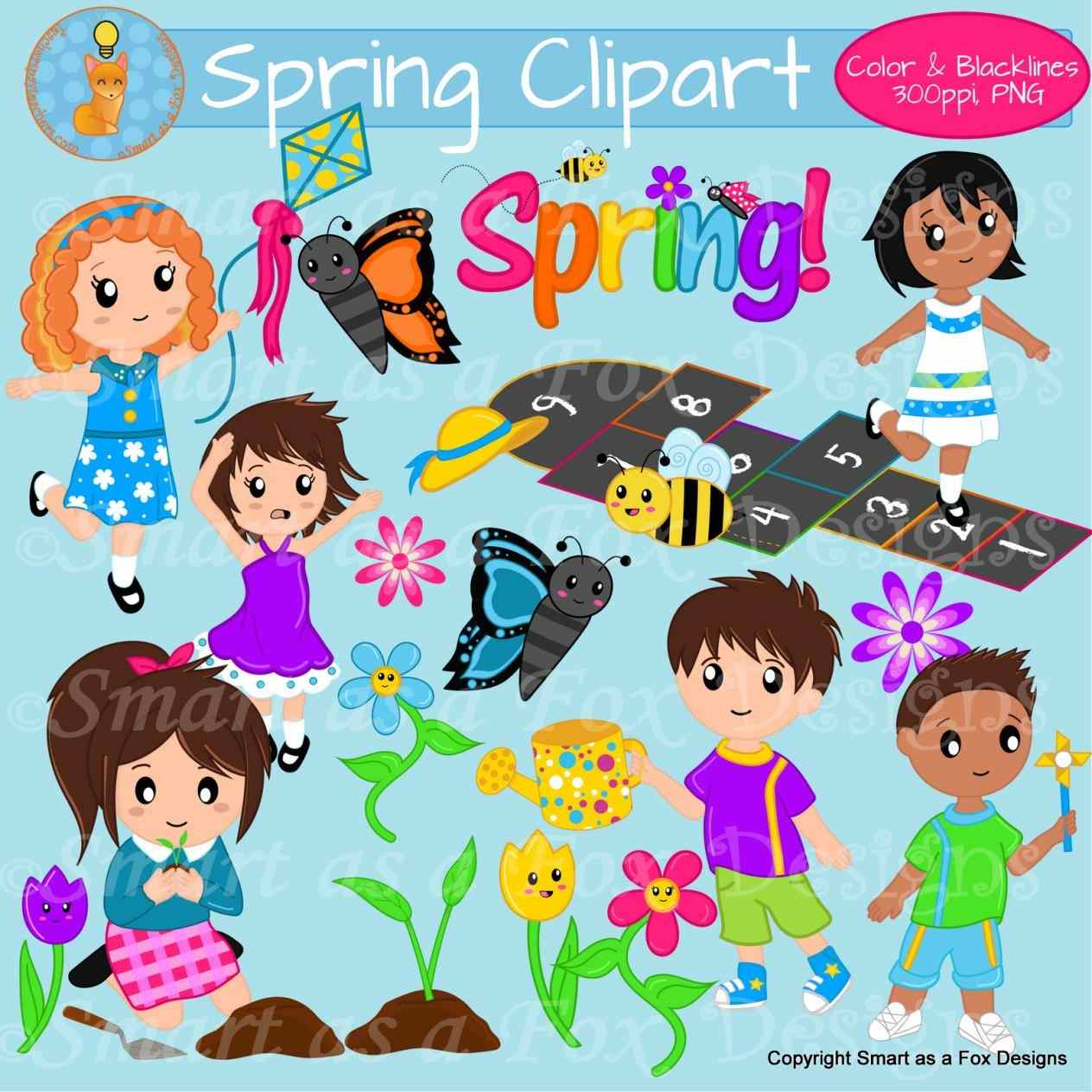 Children fox design hopscotch. Activities clipart spring season