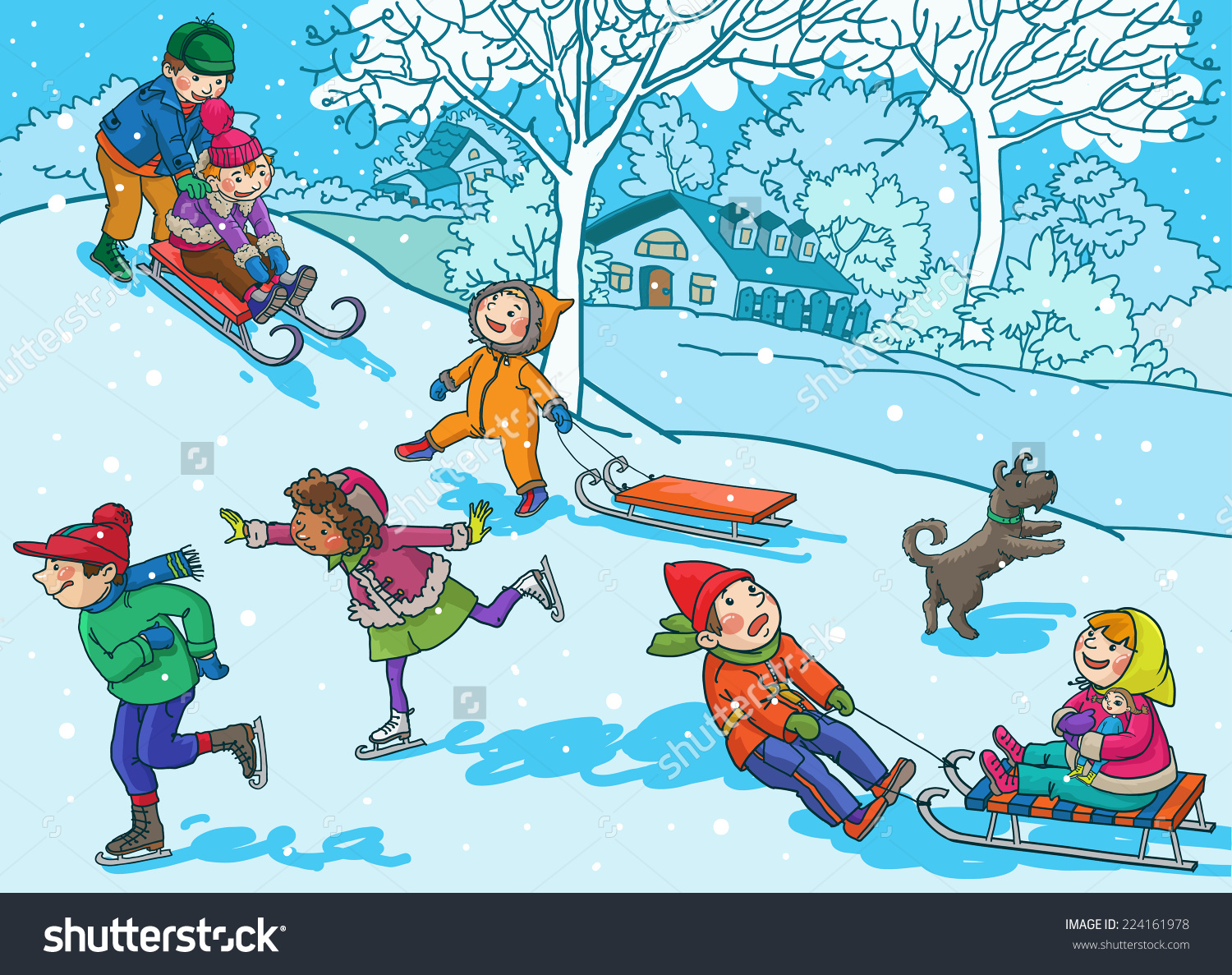 Activities clipart vector. Season winter activity pencil