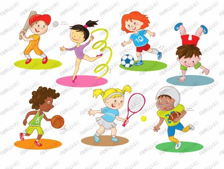 Activities clipart vector. Fun and cake children