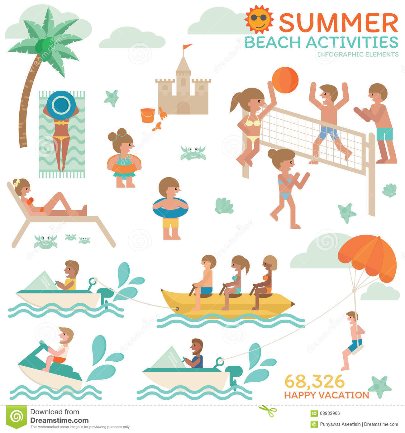 Activities clipart vector. Vacation family activity pencil