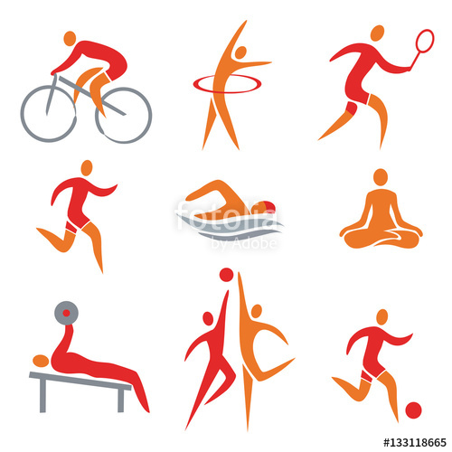 Activities clipart vector. Sport fitness icons with