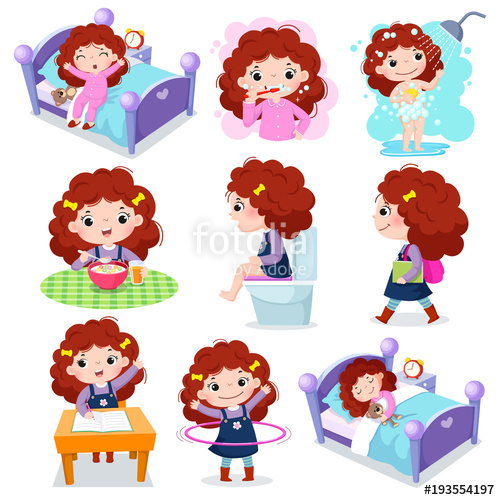 Daily routine for kids. Activities clipart vector