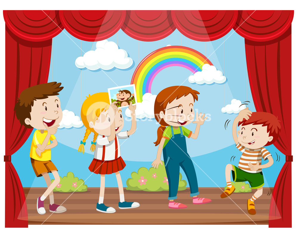 Children acting on stage. Actor clipart child actor