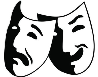 Theater stage acting play. Actor clipart drama performance