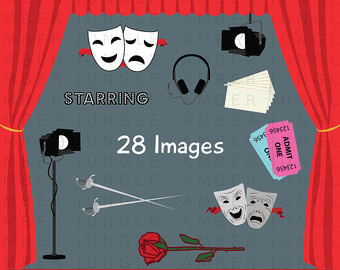 Theater etsy school play. Actor clipart stage direction
