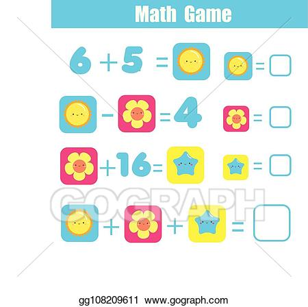 Addition clipart addition equation. Vector educational game for