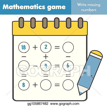 Addition clipart addition equation. Vector art educational game