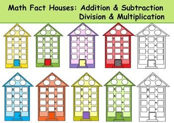 Addition clipart addition fact. Math houses subtraction division