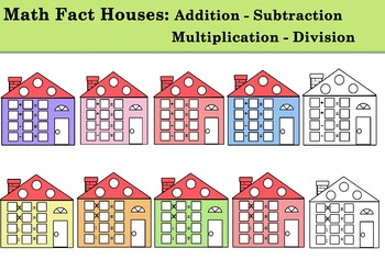Math houses subtraction division. Addition clipart addition fact