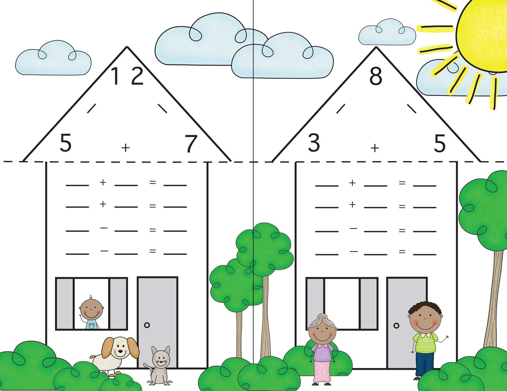 Family houses and. Addition clipart addition fact