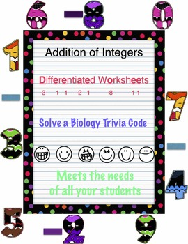 Addition clipart addition integer. Of integers differentiated puzzle
