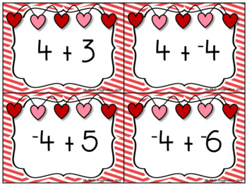 Valentine flashcards of integers. Addition clipart addition integer