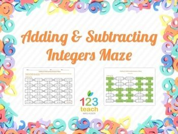 Addition clipart addition integer. Adding subtracting integers maze