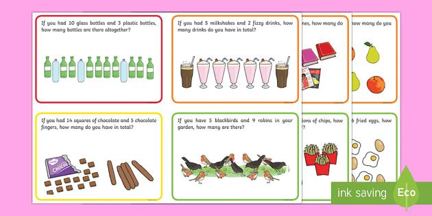 Ks word challenge cards. Addition clipart addition problem